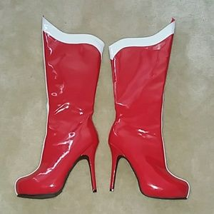 NWOT Ellie Red Pleather Heel Boots 7